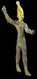 Figurină de bronz a lui Baal, sec. 14-12 î.Hr., găsită la Ugari, pe coasta feniciană