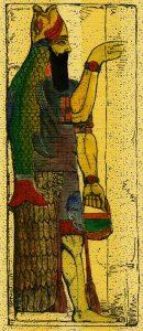 Pictură antică a lui Dagon, zeul-pește