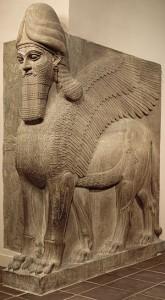 Lamassu, leu înaripat cu cap de om, 883–859 î.Cr., perioada neo-asiriană, domnia lui Ashurnasirpal II