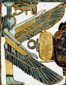 Nephthys, zeiţă egipteană reprezentată uneori cu aripi de şoim