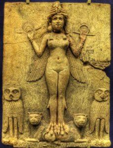 Zeiţa Ishtar, tăbliţă de teracotă sumeriană din Ur, al doilea mileniu î.Hr.