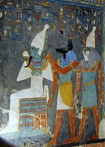 Detaliu din mormântul faraonului Horemheb, cu zeii Osiris, Anubis și Horus