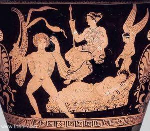16. Ariadne, abandonată de Tezeu. Atena îi poruncește lui Tezeu să o abandoneze pe Ariadne pe insula Naxos. Fata este cufundată în somn, în timp ce Hypnos, zeul înaripat al somnului, picură apă din râul uitării pe capul ei.