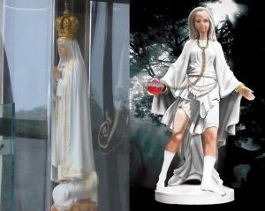 Statuia de la Capela Fatima și imaginea pe care au văzut-o copiii