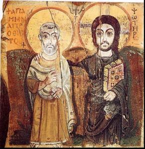 Hristos și Sfântul Mina. Icoană coptică din Egipt, secolul 6, Muzeul Luvru