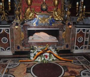 """O copie de piatră a """"sfintei"""" este păstrată în mormântul unei bazilici cu numele ei din Roma."""